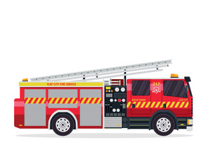 Modern Flat Isolated Firefighter Truck Illustration