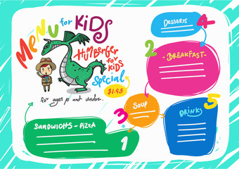 vector kids menu template.