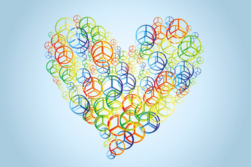 Watercolor peace signs in heart shape