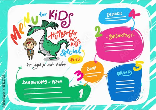 vector kids menu template stock image and royalty free vector