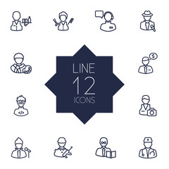 Set Of 12 Job Outline Icons Set.Collection Of Programmer, Barber, Servant And Other Elements.