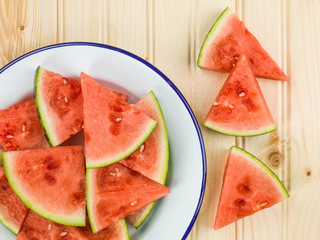 Plate of Cut Watermelon Segments