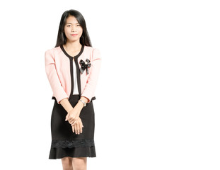 Portrait of a beautiful  asian business woman standing and smile. Isolated on white background with copy space and clipping path