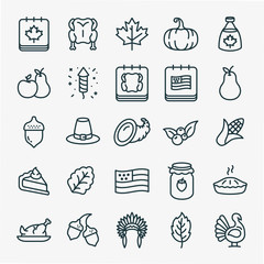 Thanksgiving Minimal Flat Line Stroke Icon Pictogram Symbol Illustration Set Collection