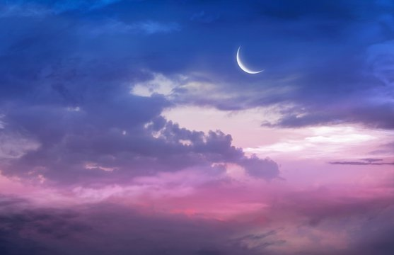 Romantic sunset and mystical moon