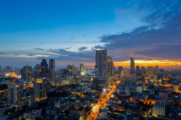 View of Bangkok modern office buildings, condominium in Bangkok city downtown with sunset sky ,Bangkok is the most populated city in Southeast Asia. Bangkok , Thailand