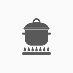 boiling pot on fire icon