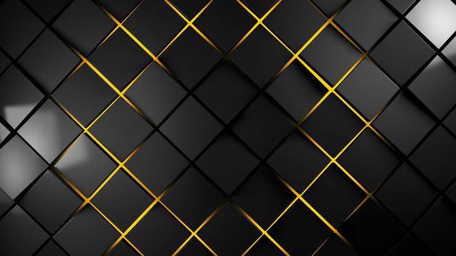 grey and orange  squares modern background 3d render illustration