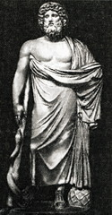 Asclepius, god of medicine in ancient Greek mythology, with his serpent-entwined staff