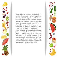 Summer frame banner with Berries and fruits for online cafes, restaurants, advertising actions, magazines and websites. Vector illustration eps 10