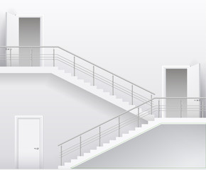 Interior bright white room with stairs and doors. Vector graphics