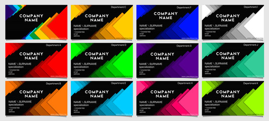 set of business cards for the company in different colors but the same style