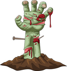 Cartoon zombie hand out of the ground. Vector illustration