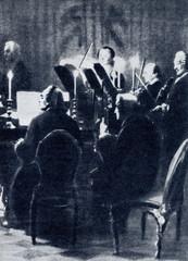 """Fragment """"Koncert na flet Menzela z Fryderykiem Wielkim w Sanssouci"""", 1852. Na klawesynie Carl Philipp Emanuel Bach - 165832133"""