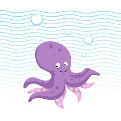 Trendy cartoon style octopus character. Simple gradient flat design for kid education. Waves and bubbles. Underwater life.