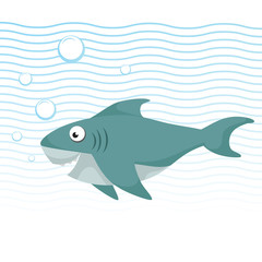 Trendy cartoon style cheerful shark with big eyes swimming underwater. Waves and bubbles. Educational simple gradient vector icon.