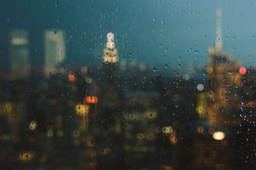 New York City Skyline through a window on a rainy day