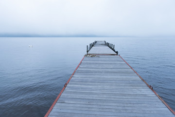 Tranquil landscape of a wooden dock on the lake