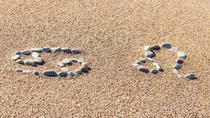 Cancer and Leo are made of stones on a sandy seashore. Signs of the zodiac of travelers and tourists.