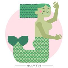 Vector colorful mermaid