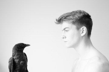 Boy and his crow