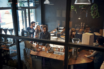 busy hipster cafe