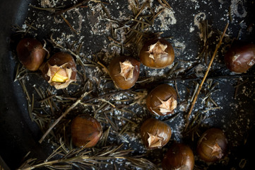 Roasted Chestnuts in Pan