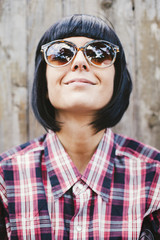 Black haired woman with glassess