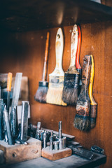 Bunch of Used Paintbrushes