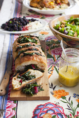 Lunch Party Table With Bread and Chard