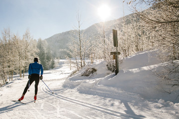 Athlete practice cross-country skiing