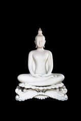 White Buddha statue on black background with Clipping Path. isolate