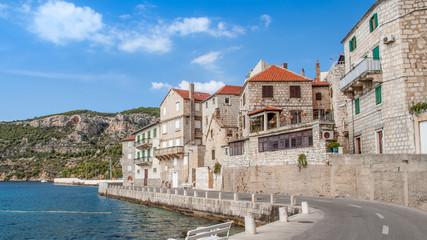 Scenic view in Komiza village, a city on the island of Vis in the Adriatic sea, Croatia.