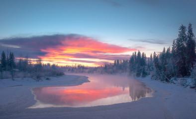 Sunset over Chena River, Fairbanks, Alaska Wall mural