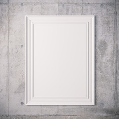 3d blank frame poster on concrete wall