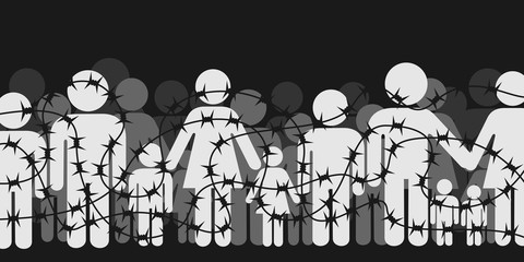 Migrants and refugees are standing behind closed and shut barrier, fence made of barbed wire. Crowd of people - family, mothers, children, men - is forbidded and banned to go. Vector illustration