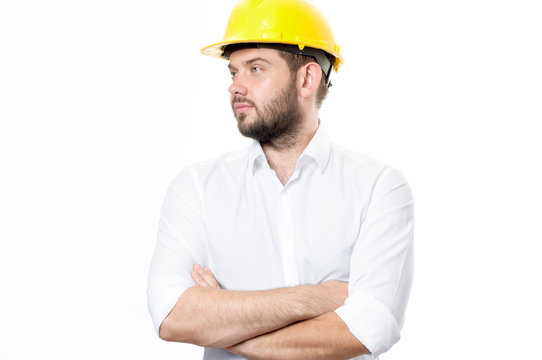 Contractor in yellow helmet on white background