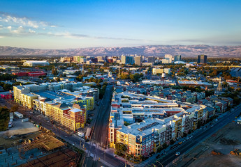 Aerial view of sunset over downtown San Jose in California Wall mural