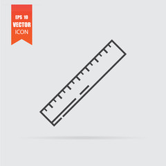 Ruler icon in flat style isolated on grey background.