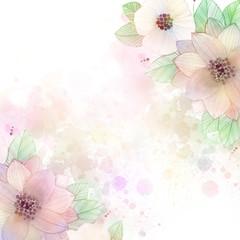 Watercolor flower background. Watercolor floral corners. Cute pastel colors frame.