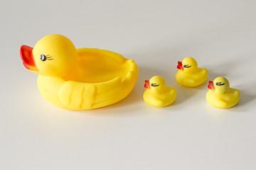 Bath toy row of yellow ducks on white background