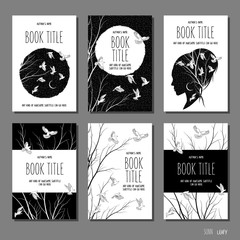 White doves and branches - set of six hand drawn book cover templates in black and white