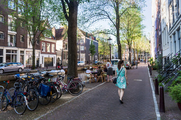 View of the Groenburgwal Street in the old town part of Amsterdam