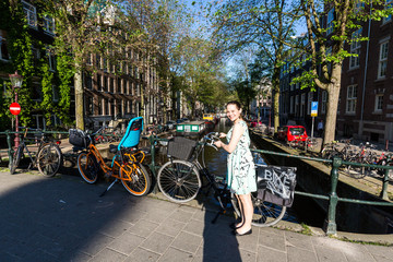 View of the Raamgracht street in the old town part of Amsterdam