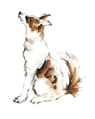 Illustration of the cute dog on white background for calendar, banner or placard. Symbol of chinese new year 2018. Traditional chinese ink painting.