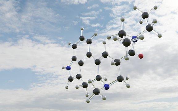 Cząsteczka LSD na tle nieba