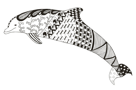 Dolphin zentangle stylized, vector, illustration, pattern, freehand pencil, hand drawn. Anti stress coloring book for adults and kids.