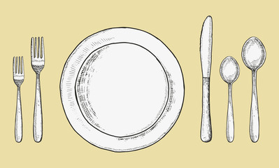 Cutlery forks and spoons with knives and plates vector. Sketch hand drawing. illustration