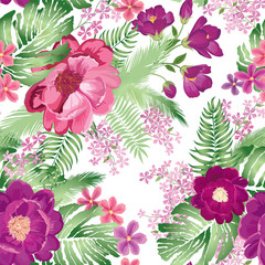 Floral seamless pattern. Spring Flower rose bouquet background.