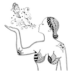 Zentangle style, swirl, girl blowing butterfly, flowers, vector, illustration, freehand pencil. Anti stress coloring book for adults and kids.